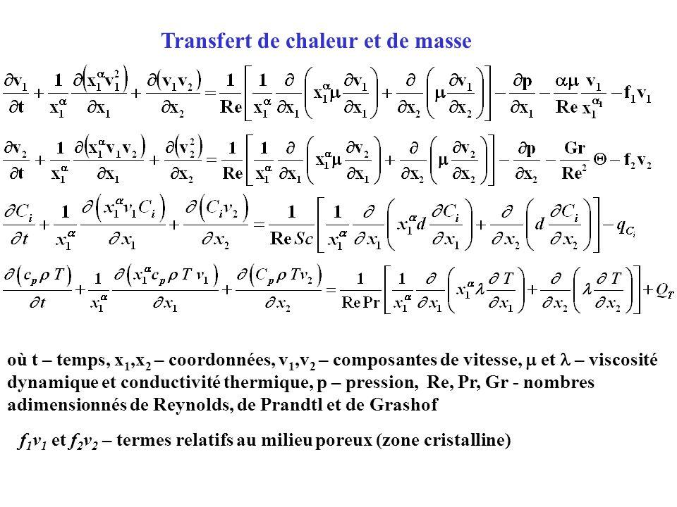Transfert de chaleur et de masse f 1 v 1 et f 2 v 2 – termes relatifs au milieu poreux (zone cristalline) où t – temps, x 1,x 2 – coordonnées, v 1,v 2