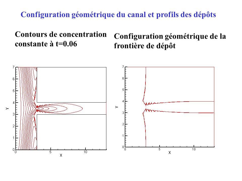Configuration géométrique du canal et profils des dépôts Contours de concentration constante à t=0.06 Configuration géométrique de la frontière de dép