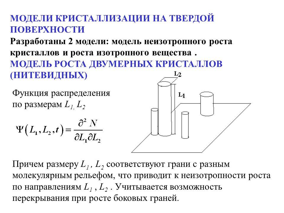 Причем размеру L 1, L 2 соответствуют грани с разным молекулярным рельефом, что приводит к неизотропности роста по направлениям L 1, L 2. Учитывается