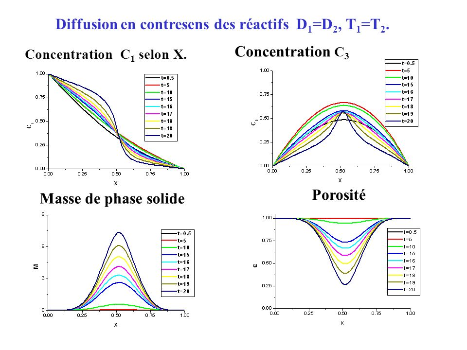 Concentration С 1 selon X. Concentration С 3 Masse de phase solide Porosité Diffusion en contresens des réactifs D 1 =D 2, T 1 =T 2.