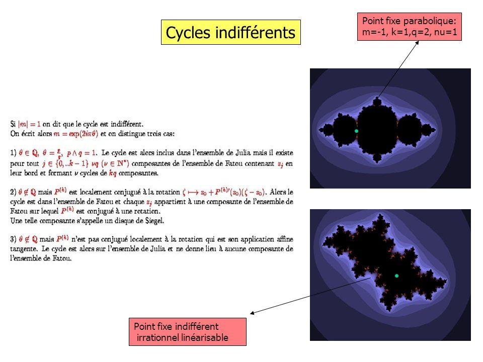 Cycles indifférents Point fixe parabolique: m=-1, k=1,q=2, nu=1 Point fixe indifférent irrationnel linéarisable
