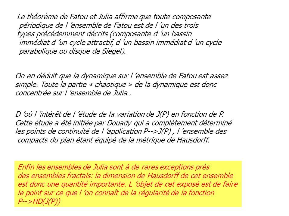 Le théorème de Fatou et Julia affirme que toute composante périodique de l ensemble de Fatou est de l un des trois types précédemment décrits (composa