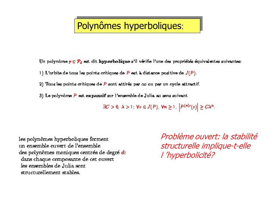 Polynômes hyperboliques : Problème ouvert: la stabilité structurelle implique-t-elle l hyperbolicité?
