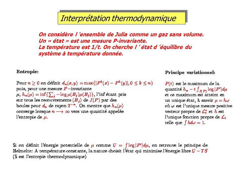 Interprétation thermodynamique On considère l ensemble de Julia comme un gaz sans volume. Un « état » est une mesure P-invariante. La température est