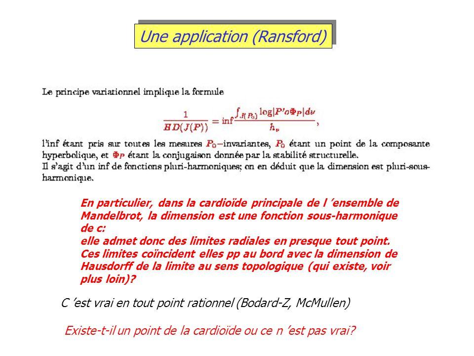 Une application (Ransford) En particulier, dans la cardioïde principale de l ensemble de Mandelbrot, la dimension est une fonction sous-harmonique de