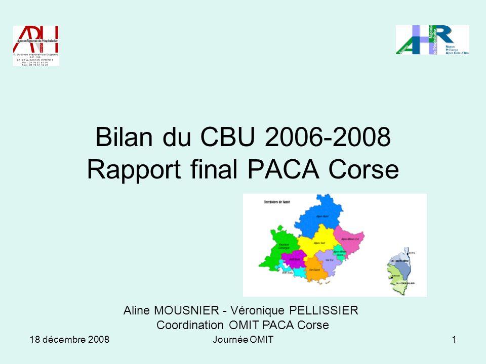 18 décembre 2008Journée OMIT1 Bilan du CBU 2006-2008 Rapport final PACA Corse Aline MOUSNIER - Véronique PELLISSIER Coordination OMIT PACA Corse