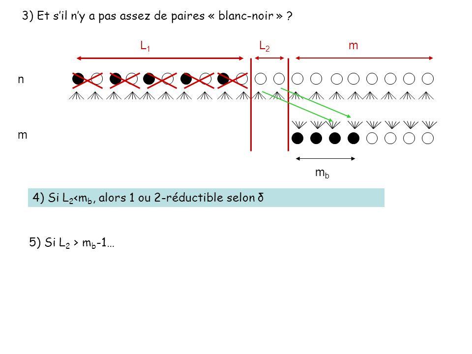n m 3) Et sil ny a pas assez de paires « blanc-noir » ? L1L1 L2L2 m mbmb 4) Si L 2 <m b, alors 1 ou 2-réductible selon δ 5) Si L 2 > m b -1…