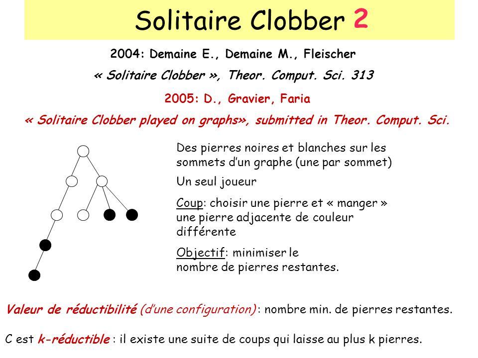 Solitaire Clobber 2004: Demaine E., Demaine M., Fleischer « Solitaire Clobber », Theor. Comput. Sci. 313 2005: D., Gravier, Faria « Solitaire Clobber