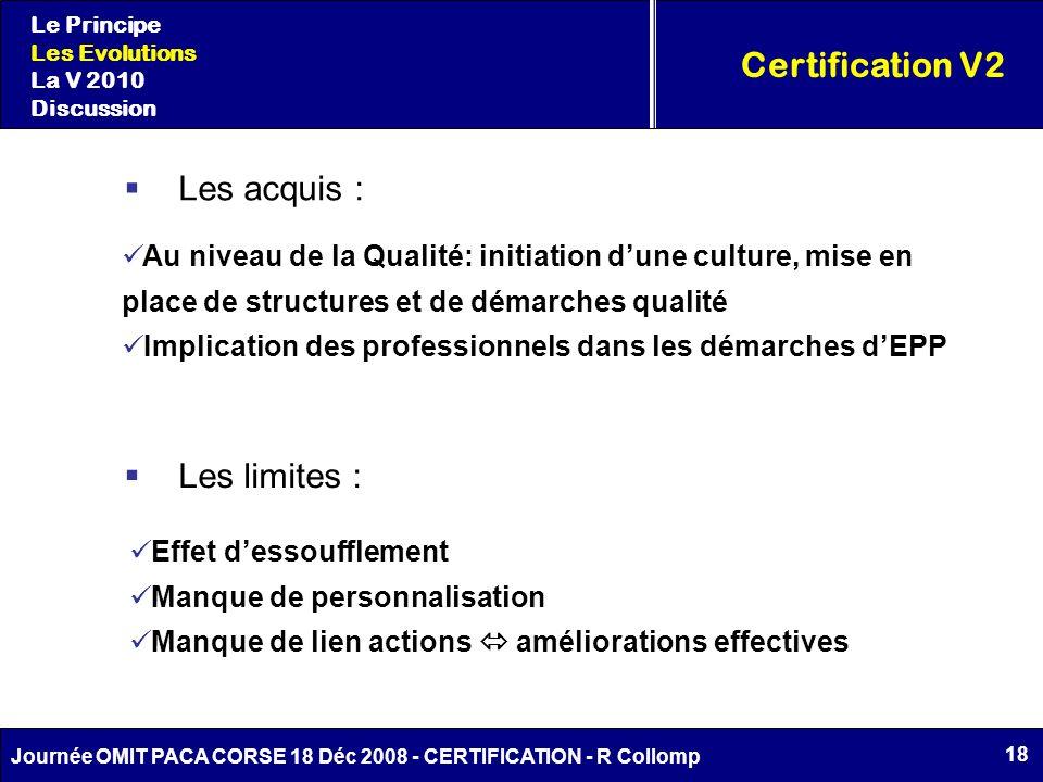 18 Journée OMIT PACA CORSE 18 Déc 2008 - CERTIFICATION - R Collomp Certification V2 Le Principe Les Evolutions La V 2010 Discussion Les acquis : Au ni