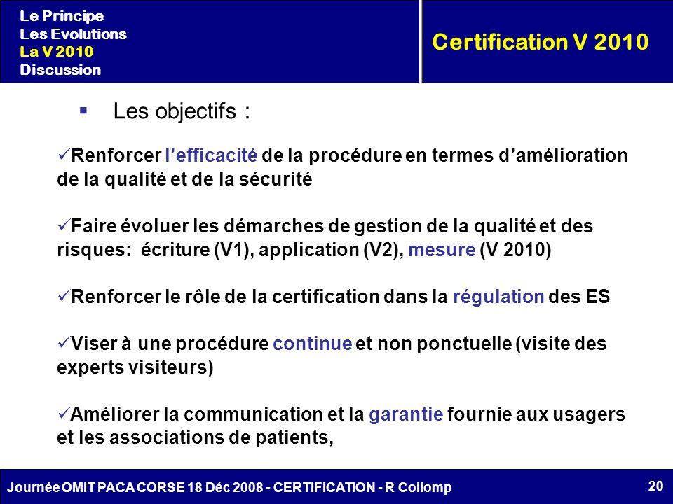 20 Journée OMIT PACA CORSE 18 Déc 2008 - CERTIFICATION - R Collomp Le Principe Les Evolutions La V 2010 Discussion Certification V 2010 Les objectifs