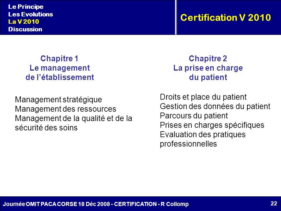 22 Journée OMIT PACA CORSE 18 Déc 2008 - CERTIFICATION - R Collomp Le Principe Les Evolutions La V 2010 Discussion Certification V 2010 Chapitre 1 Le