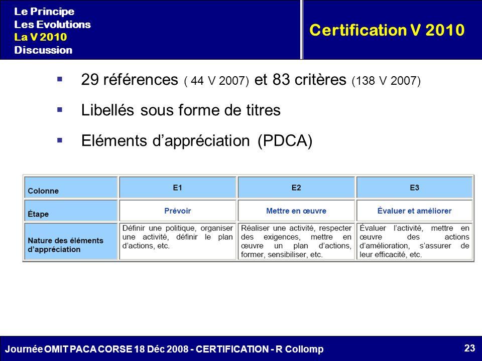 23 Journée OMIT PACA CORSE 18 Déc 2008 - CERTIFICATION - R Collomp Le Principe Les Evolutions La V 2010 Discussion Certification V 2010 29 références