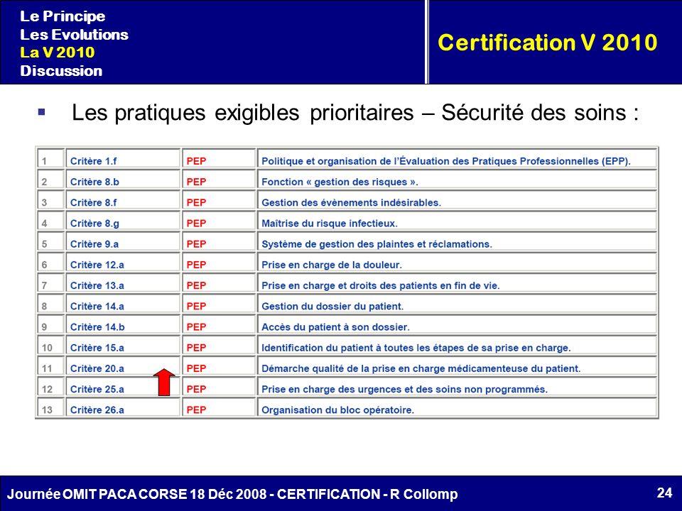 24 Journée OMIT PACA CORSE 18 Déc 2008 - CERTIFICATION - R Collomp Le Principe Les Evolutions La V 2010 Discussion Certification V 2010 Les pratiques