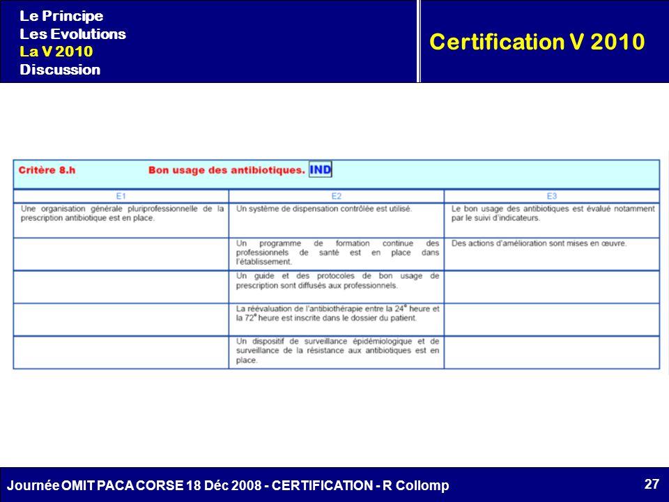 27 Journée OMIT PACA CORSE 18 Déc 2008 - CERTIFICATION - R Collomp Certification V 2010 Le Principe Les Evolutions La V 2010 Discussion