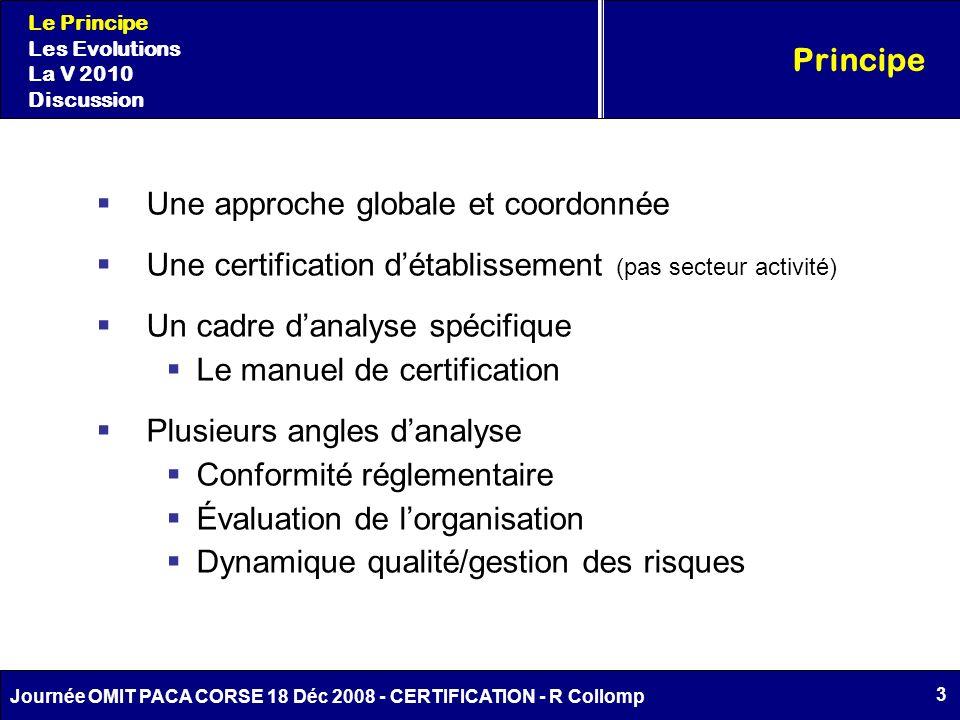 3 Journée OMIT PACA CORSE 18 Déc 2008 - CERTIFICATION - R Collomp Une approche globale et coordonnée Une certification détablissement (pas secteur act