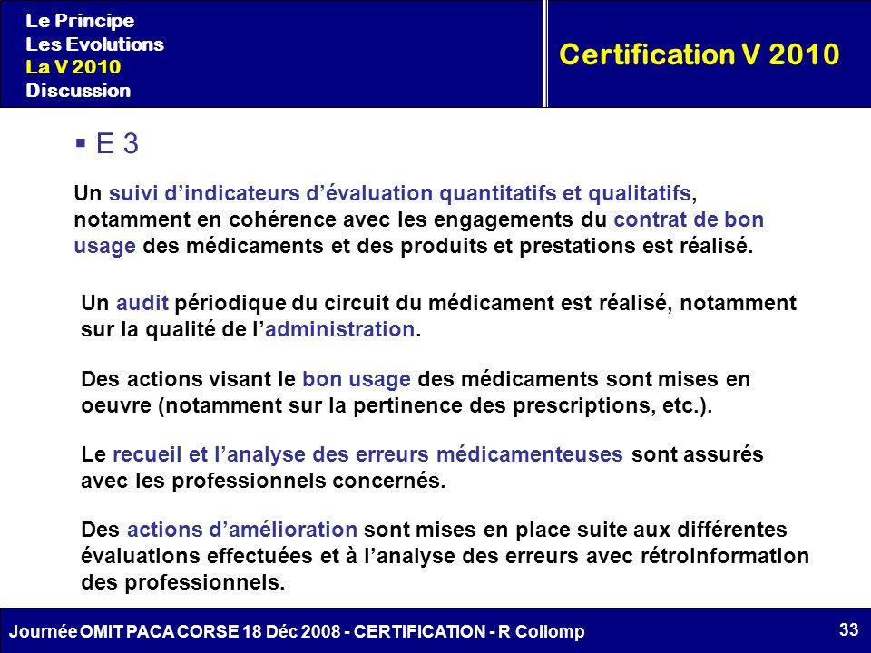 33 Journée OMIT PACA CORSE 18 Déc 2008 - CERTIFICATION - R Collomp Certification V 2010 Le Principe Les Evolutions La V 2010 Discussion E 3 Un suivi d