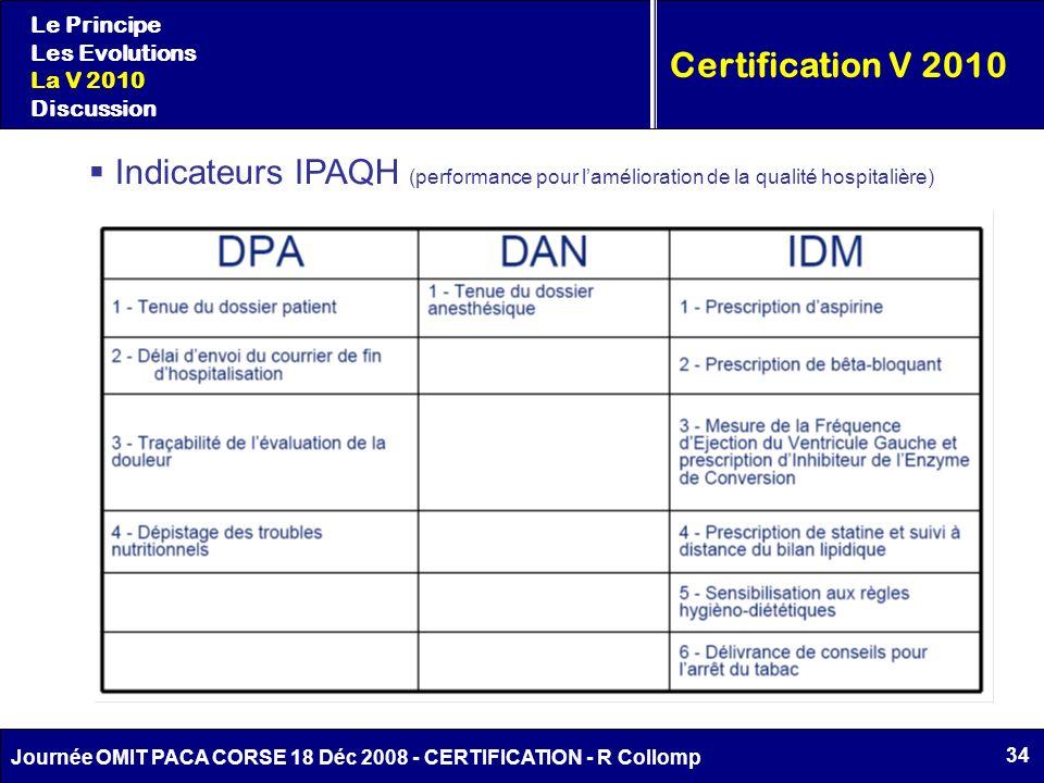 34 Journée OMIT PACA CORSE 18 Déc 2008 - CERTIFICATION - R Collomp Certification V 2010 Le Principe Les Evolutions La V 2010 Discussion Indicateurs IP