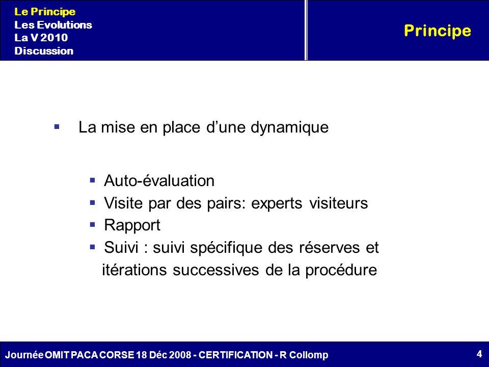 4 Journée OMIT PACA CORSE 18 Déc 2008 - CERTIFICATION - R Collomp La mise en place dune dynamique Auto-évaluation Visite par des pairs: experts visite