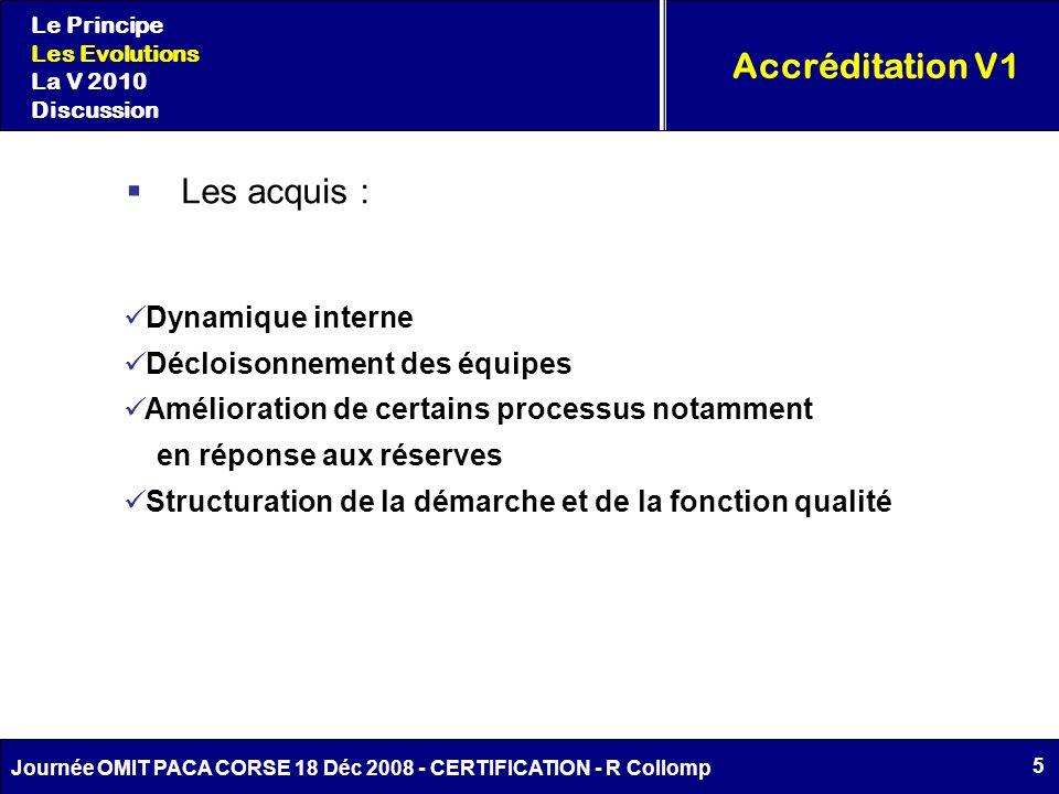 5 Journée OMIT PACA CORSE 18 Déc 2008 - CERTIFICATION - R Collomp Accréditation V1 Le Principe Les Evolutions La V 2010 Discussion Les acquis : Dynami