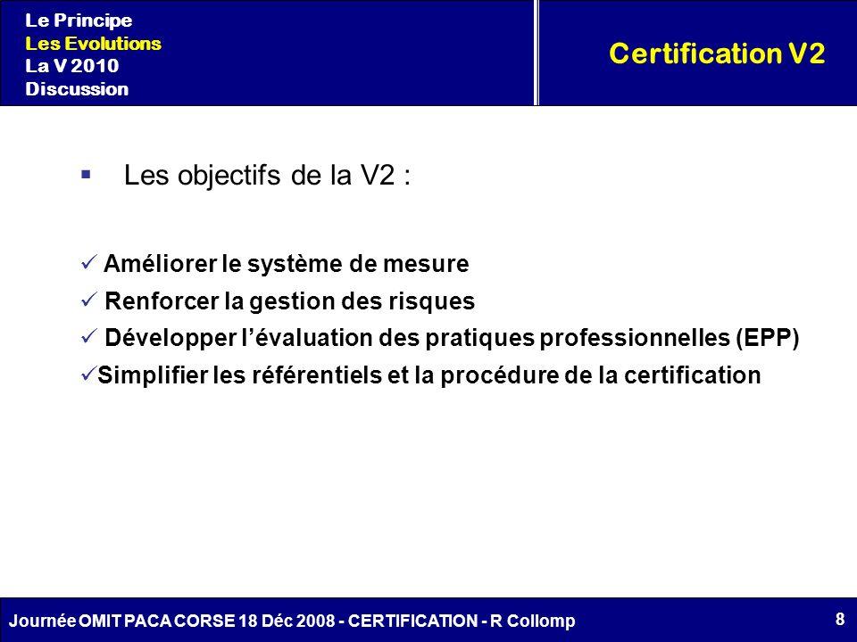 8 Journée OMIT PACA CORSE 18 Déc 2008 - CERTIFICATION - R Collomp Certification V2 Le Principe Les Evolutions La V 2010 Discussion Améliorer le systèm