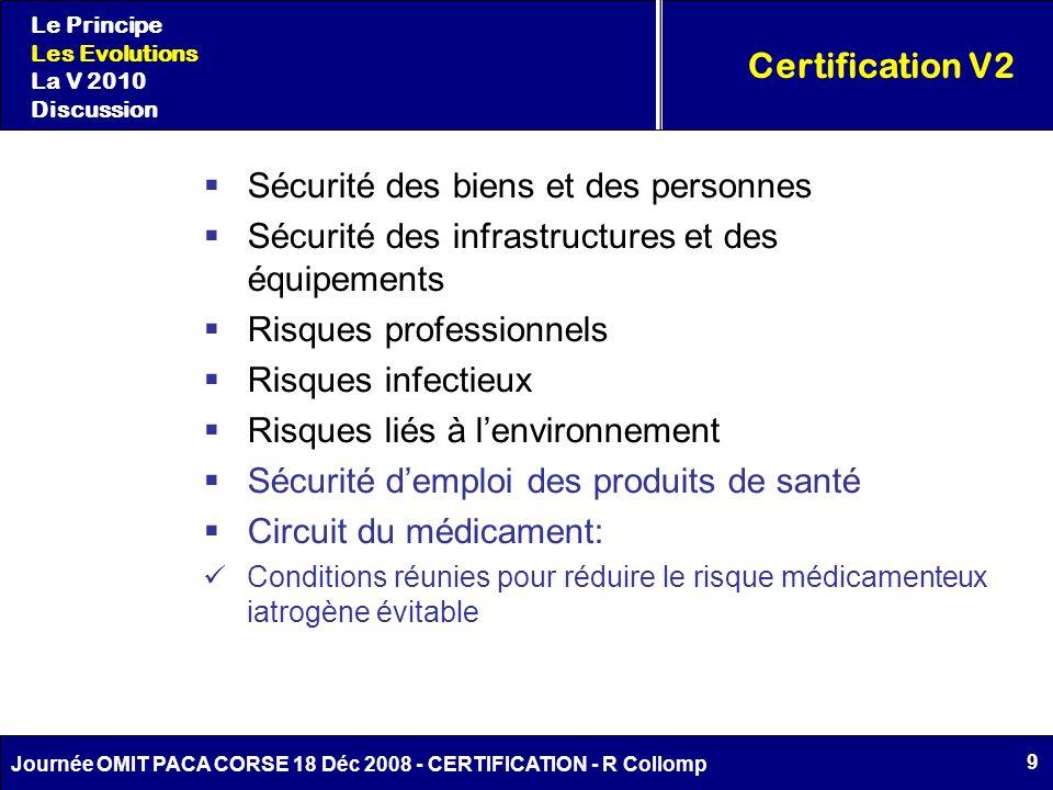 9 Journée OMIT PACA CORSE 18 Déc 2008 - CERTIFICATION - R Collomp Certification V2 Le Principe Les Evolutions La V 2010 Discussion Sécurité des biens
