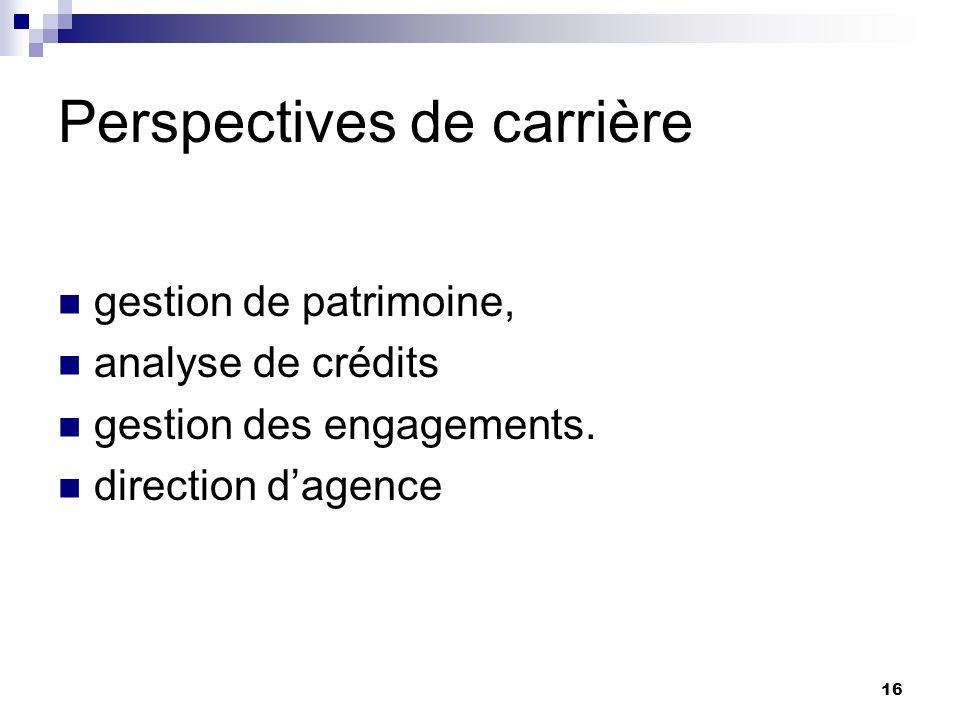 16 Perspectives de carrière gestion de patrimoine, analyse de crédits gestion des engagements. direction dagence