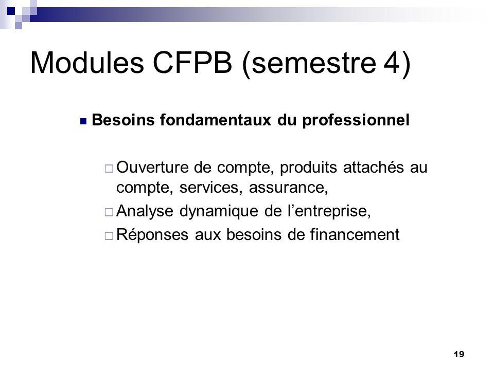 19 Modules CFPB (semestre 4) Besoins fondamentaux du professionnel Ouverture de compte, produits attachés au compte, services, assurance, Analyse dyna
