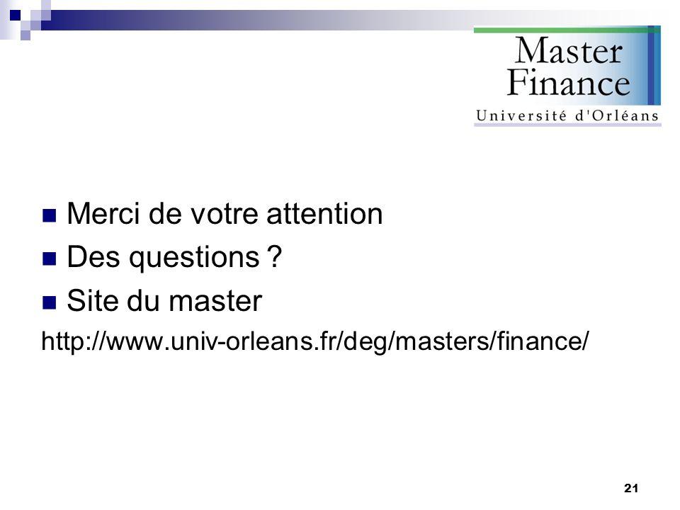 21 Merci de votre attention Des questions ? Site du master http://www.univ-orleans.fr/deg/masters/finance/