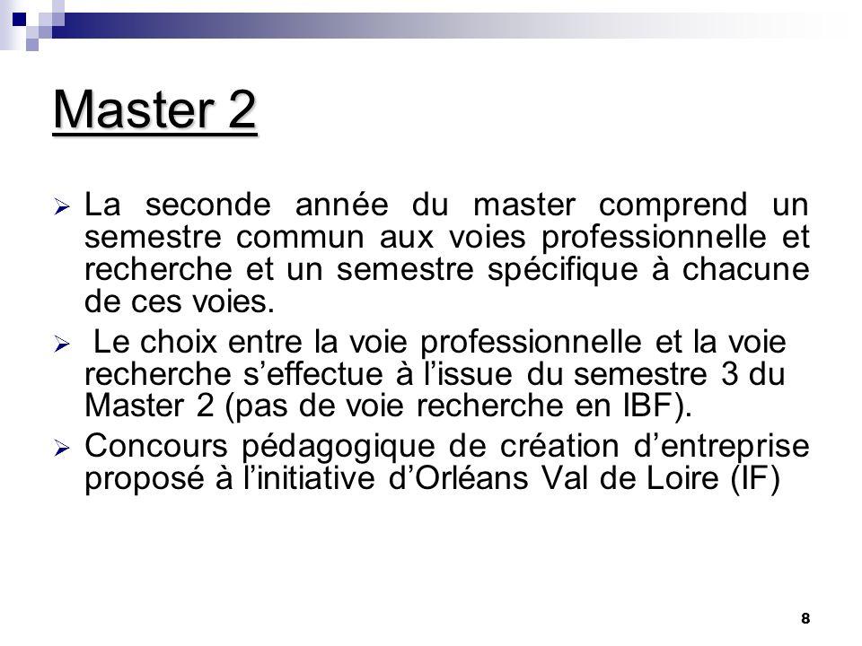 8 Master 2 La seconde année du master comprend un semestre commun aux voies professionnelle et recherche et un semestre spécifique à chacune de ces vo