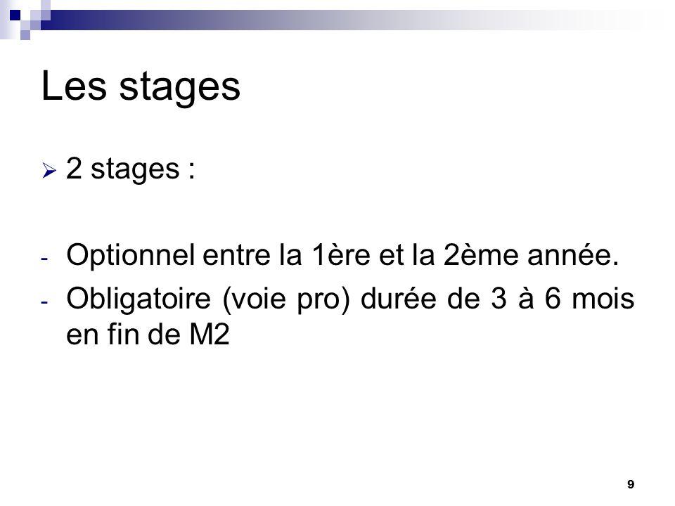 9 Les stages 2 stages : - Optionnel entre la 1ère et la 2ème année. - Obligatoire (voie pro) durée de 3 à 6 mois en fin de M2