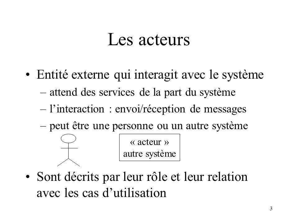 3 Les acteurs Entité externe qui interagit avec le système –attend des services de la part du système –linteraction : envoi/réception de messages –peu
