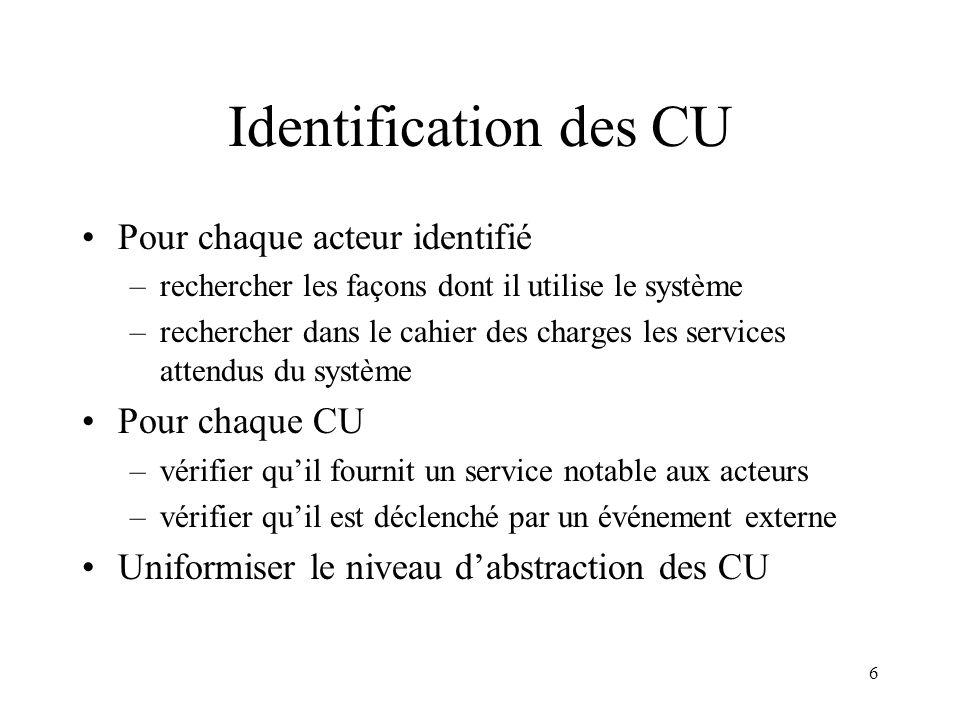 6 Identification des CU Pour chaque acteur identifié –rechercher les façons dont il utilise le système –rechercher dans le cahier des charges les serv