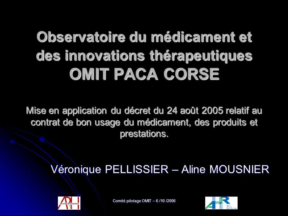 Comité pilotage OMIT – 6 /10 /2006 Observatoire du médicament et des innovations thérapeutiques OMIT PACA CORSE Mise en application du décret du 24 ao