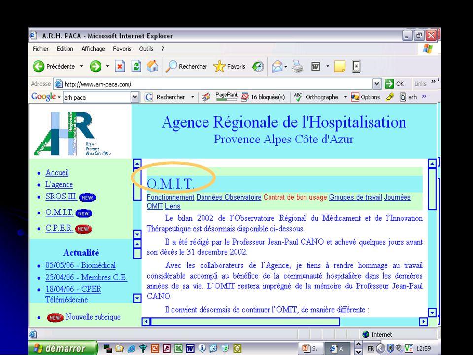 Réunion OMIT – 21/11 /2006 6- Communication Espace dédié à lOMIT sur le site internet de lARH PACA Espace dédié à lOMIT sur le site internet de lARH P