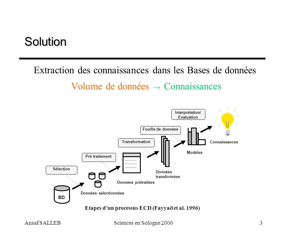 Ansaf SALLEBSciences en Sologne 20004 Solution Fouille de données (Data Mining) = Extraction de connaissances implicites, non connues à l avance dans des entrepôts de données STAT BD RN VISU ASA AD FD