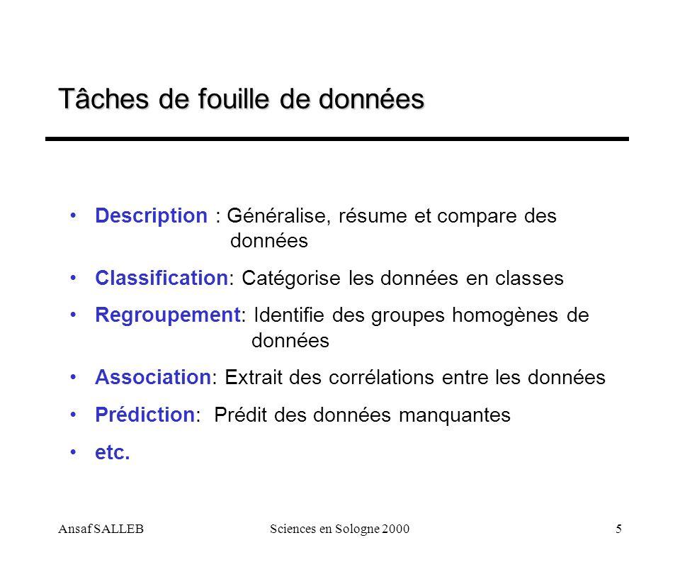Ansaf SALLEBSciences en Sologne 20005 Tâches de fouille de données Description : Généralise, résume et compare des données Classification: Catégorise