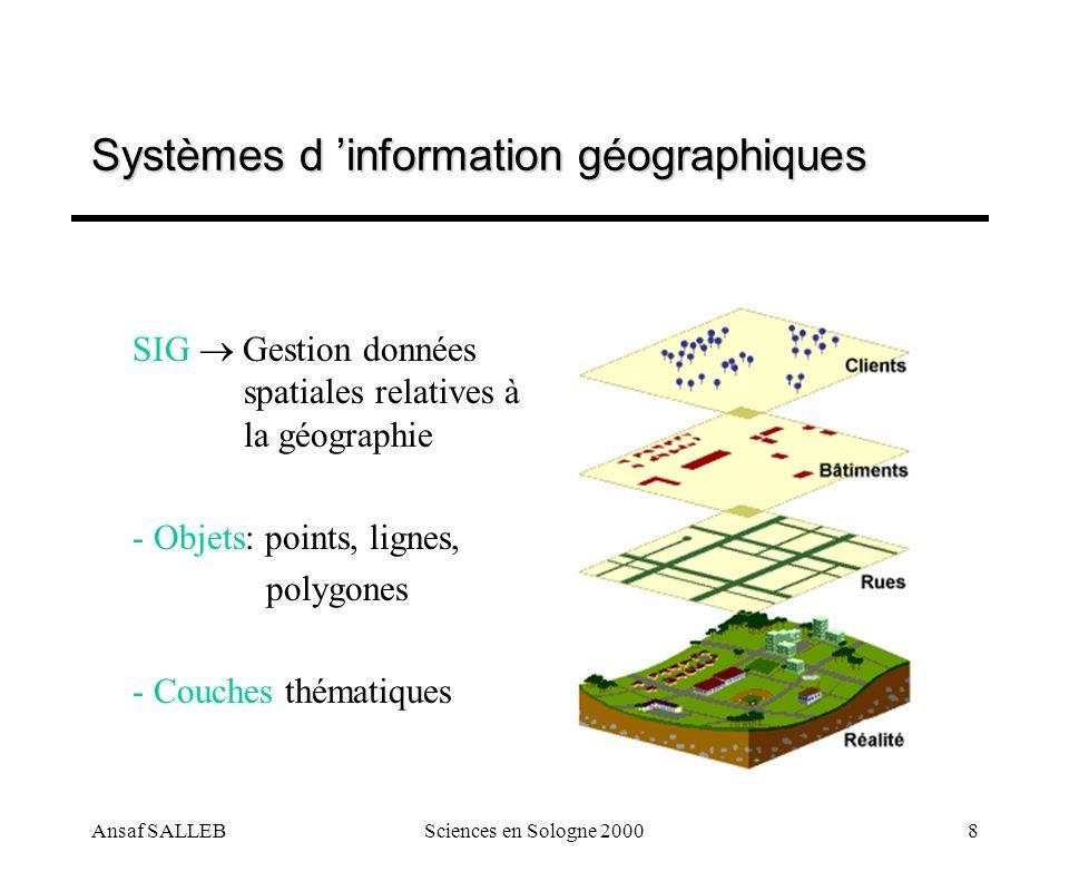 Ansaf SALLEBSciences en Sologne 20008 SIG Gestion données spatiales relatives à la géographie - Objets: points, lignes, polygones - Couches thématique