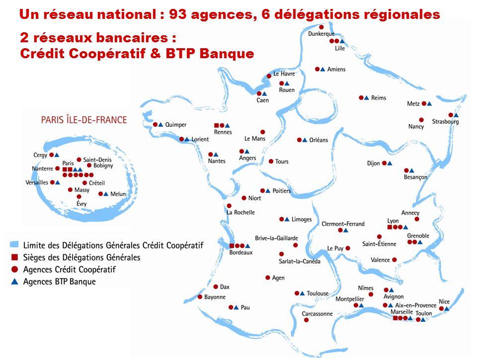 2 réseaux bancaires : Crédit Coopératif & BTP Banque Un réseau national : 93 agences, 6 délégations régionales