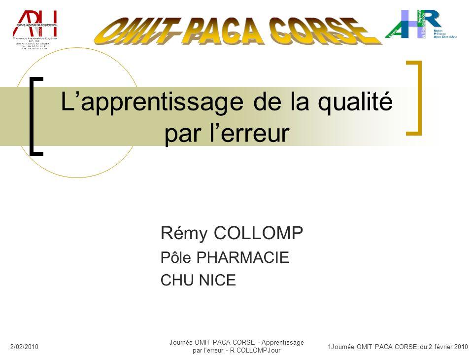 2/02/2010 Journée OMIT PACA CORSE - Apprentissage par l'erreur - R COLLOMPJour 1Journée OMIT PACA CORSE du 2 février 2010 Lapprentissage de la qualité
