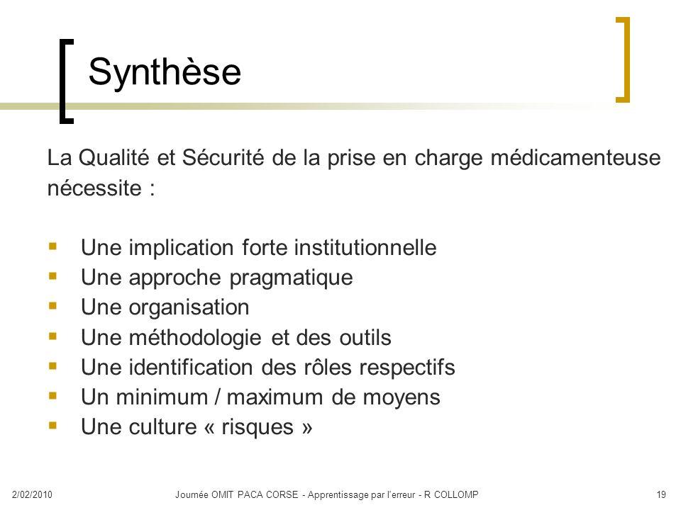 2/02/2010Journée OMIT PACA CORSE - Apprentissage par l'erreur - R COLLOMP19 Synthèse La Qualité et Sécurité de la prise en charge médicamenteuse néces