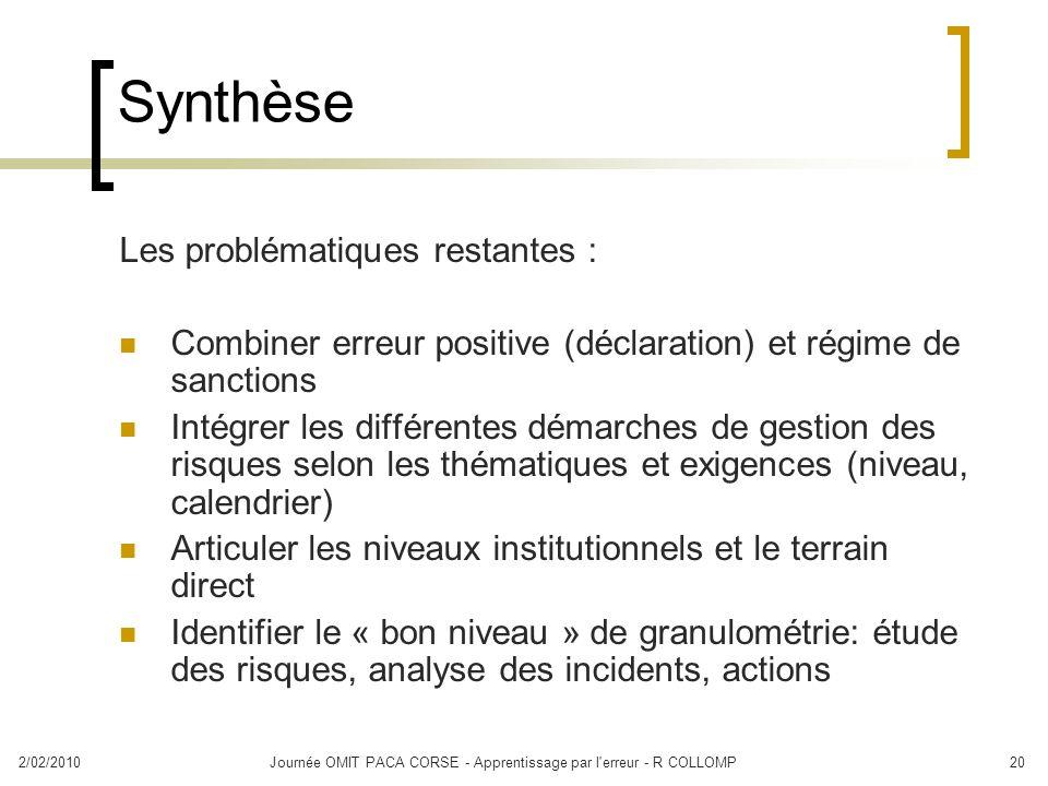 2/02/2010Journée OMIT PACA CORSE - Apprentissage par l'erreur - R COLLOMP20 Synthèse Les problématiques restantes : Combiner erreur positive (déclarat