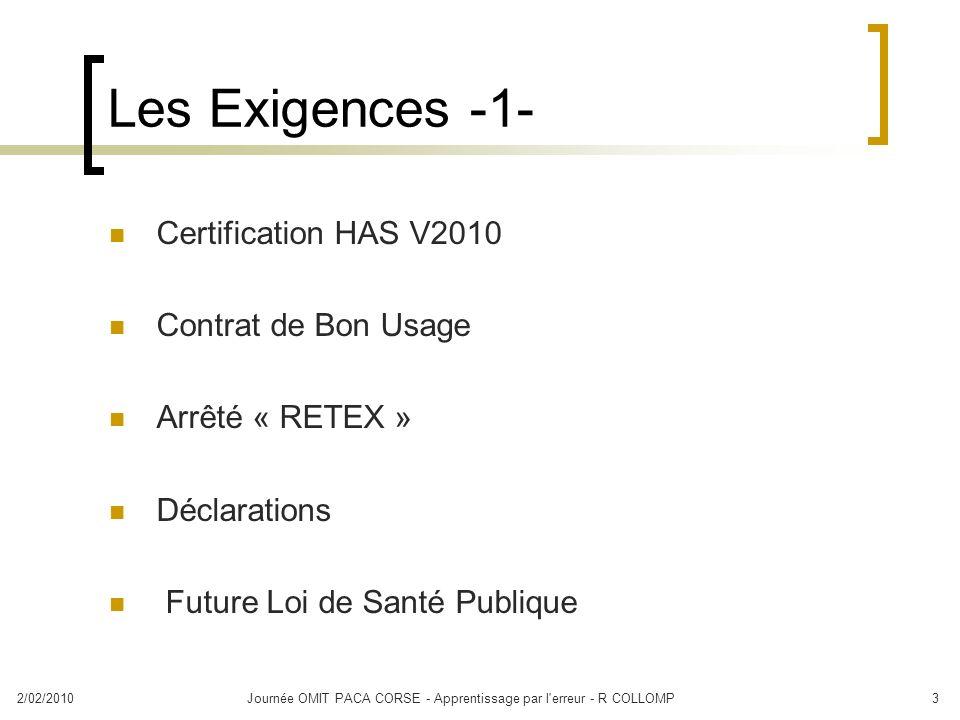 2/02/2010Journée OMIT PACA CORSE - Apprentissage par l'erreur - R COLLOMP3 Les Exigences -1- Certification HAS V2010 Contrat de Bon Usage Arrêté « RET