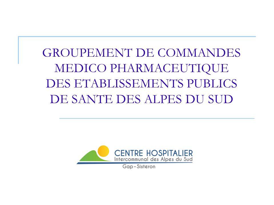 2 Coordonnateur du groupement Mr DALMASSO, Directeur du Centre Hospitalier Intercommunal des Alpes du Sud Coordonnateurs techniques du groupement Mr CONSTANS (Médicaments) Mme NICOLAS (Dispositifs Médicaux) PRESENTATION DE LA STRUCTURE GROUPEMENT (1)