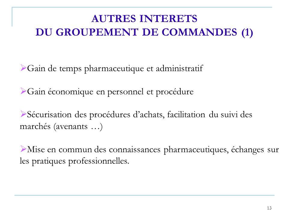 13 AUTRES INTERETS DU GROUPEMENT DE COMMANDES (1) Gain de temps pharmaceutique et administratif Gain économique en personnel et procédure Sécurisation