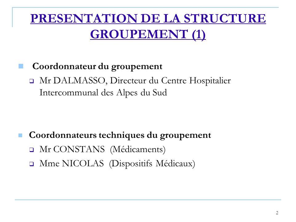 2 Coordonnateur du groupement Mr DALMASSO, Directeur du Centre Hospitalier Intercommunal des Alpes du Sud Coordonnateurs techniques du groupement Mr C
