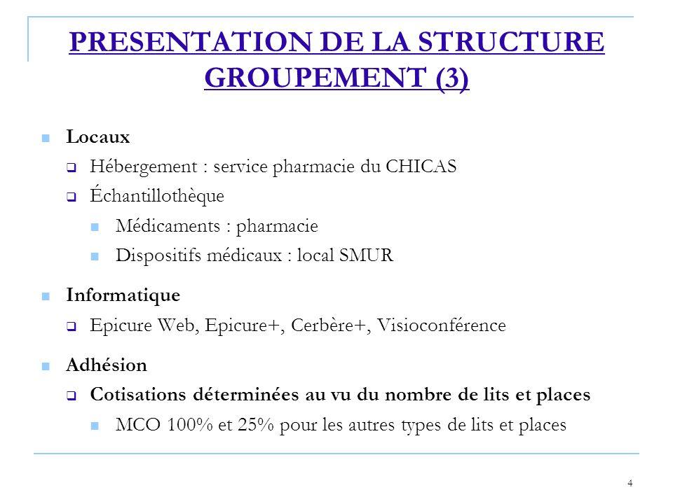 4 PRESENTATION DE LA STRUCTURE GROUPEMENT (3) Locaux Hébergement : service pharmacie du CHICAS Échantillothèque Médicaments : pharmacie Dispositifs mé