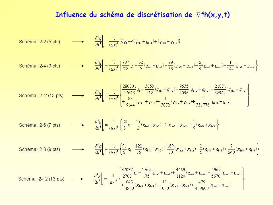 Influence du schéma de discrétisation de 4 h(x,y,t) Schéma : 2-2 (5 pts) Schéma : 2-4 (9 pts) Schéma : 2-4' (13 pts) Schéma : 2-6 (7 pts) Schéma : 2-8