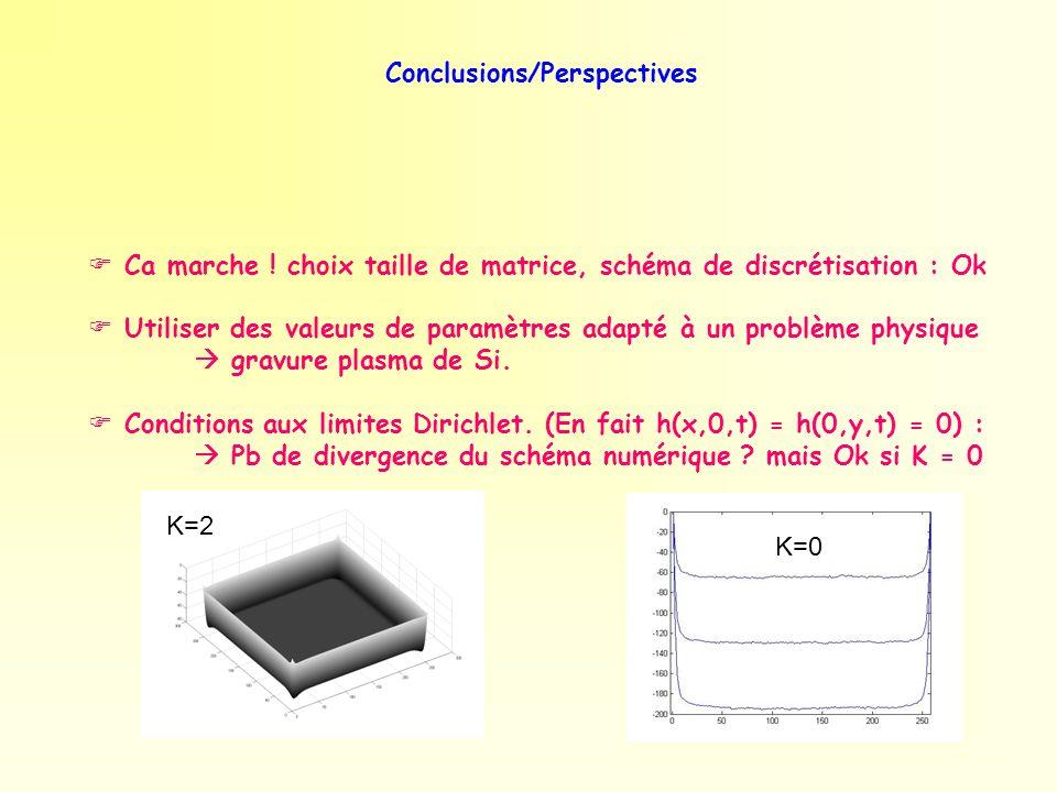 Conclusions/Perspectives Ca marche ! choix taille de matrice, schéma de discrétisation : Ok Utiliser des valeurs de paramètres adapté à un problème ph