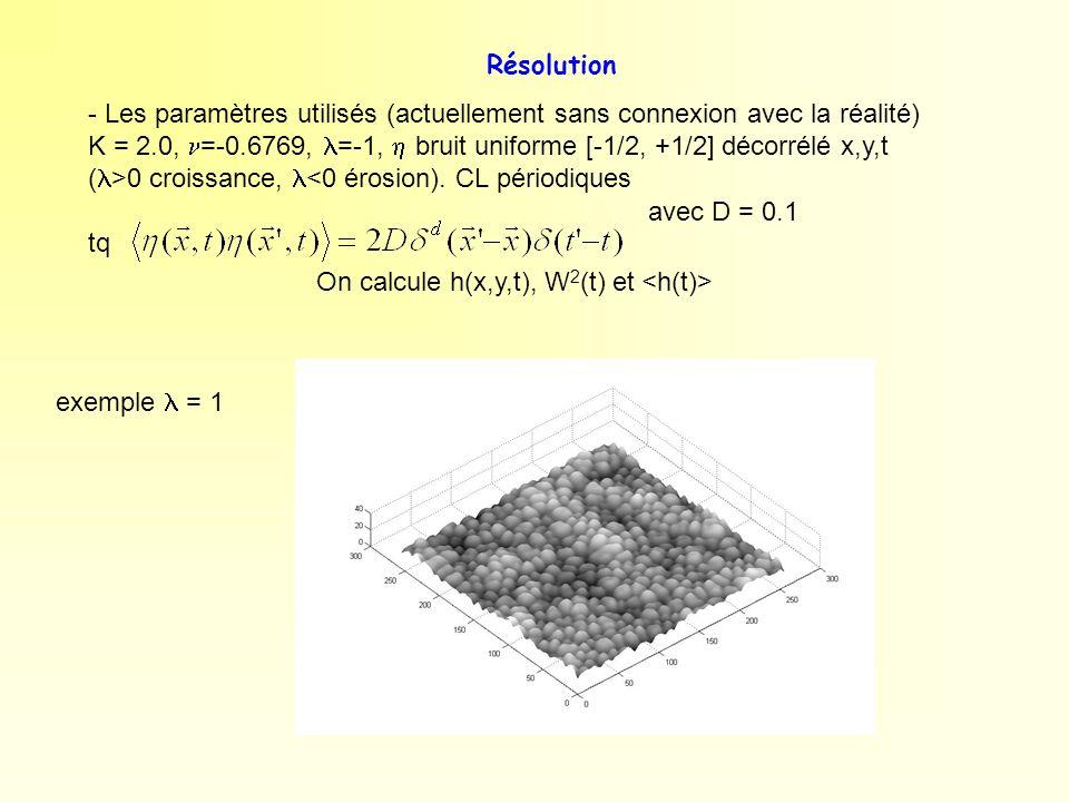 Résolution - Les paramètres utilisés (actuellement sans connexion avec la réalité) K = 2.0, =-0.6769, =-1, bruit uniforme [-1/2, +1/2] décorrélé x,y,t
