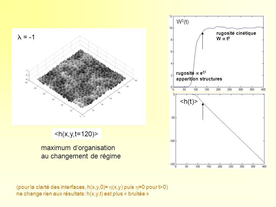 W 2 (t) maximum dorganisation au changement de régime rugosité e t apparition structures rugosité cinétique W t β (pour la clarté des interfaces, h(x,